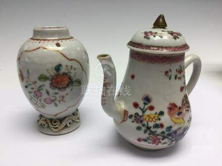 A small famille rose ewer and cover, 18th Century, decorated with cockerells,