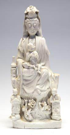 A Chinese blanc de chine figure of Guanyin, 19th Century (s.