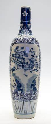 A tall Japanese blue and white vase, 19th Century,