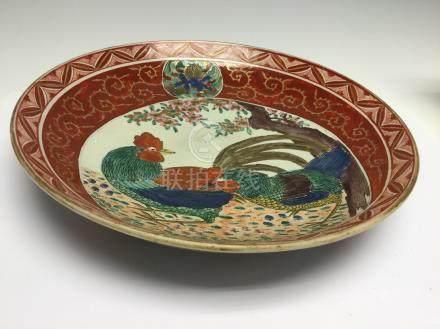 A Japanese kutani dish, 19th Century,
