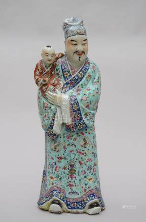 Statue in Chinese porcelain 'priest with child', marked (*)