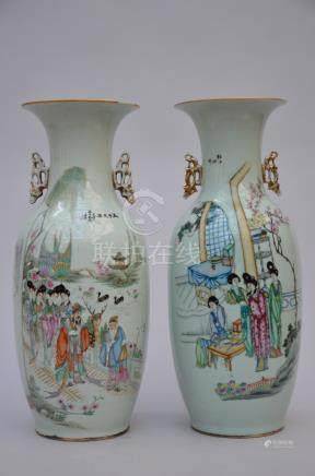 two vases in Chinese porcelain 'ladies - immortals'