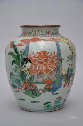 A vase in Chinese porcelain famille verte 'figures'
