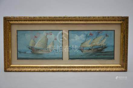 Anonymous (Chinese school): pair of paintings 'two junk boats'