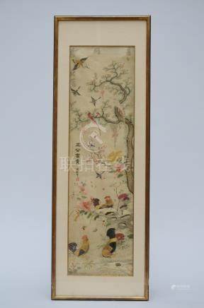 A Chinese embroidery in silk 'birds'