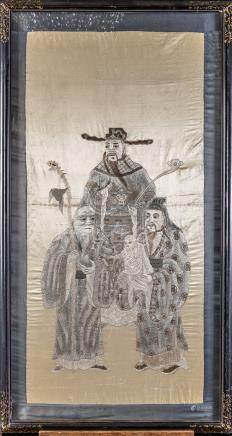 Chinese silk embroidery 'immortals'