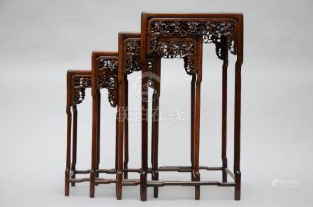 Chinese table set in hardwood