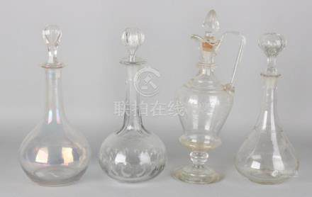 Four old / antique glass carafes. Divers. Circa 1900