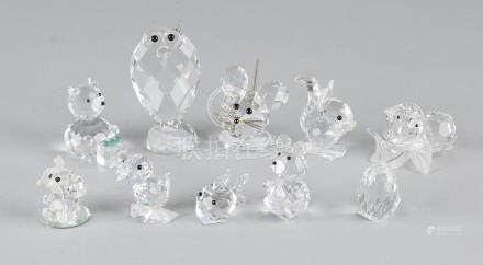 Lot various crystal figurines, including Swarovski.