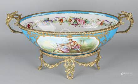 Large antique French Sevres porcelain table bowl with