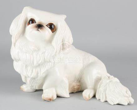 Large antique German Nymphenburg porcelain dog with