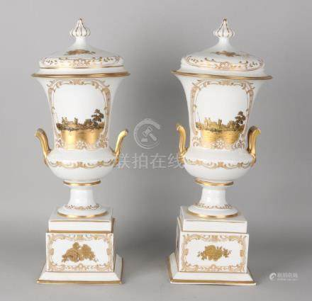 Two large German Rosenthal porcelain lid sections,