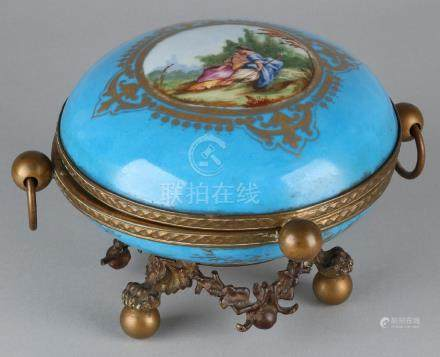 Large old hand-painted porcelain Sevres style box with
