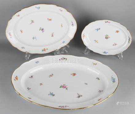 Three times antique German Meissen porcelain serving
