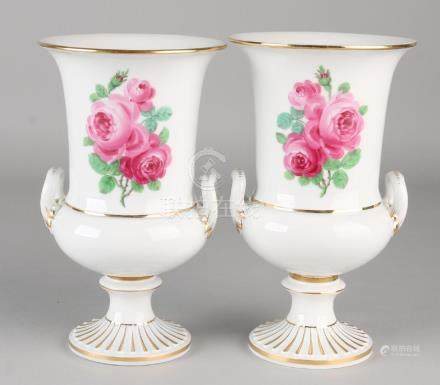 Two German Meissen porcelain crater vases with roses