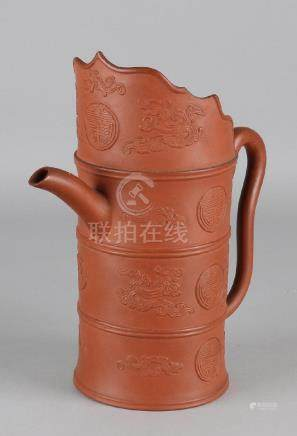 Large old / antique Chinese Yixing jug with symbols,