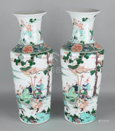 A pair of large Chinese porcelain Family Rose vases