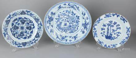 Three times 18th century Chinese porcelain plates,