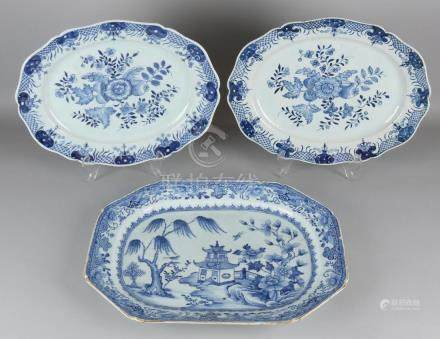 Three large 18th century Chinese porcelain meat dishes