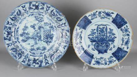 Two large 18th century Delft Fayence style dishes. One