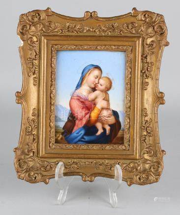 19th Century porcelain plaque, Maria with baby Jesus in