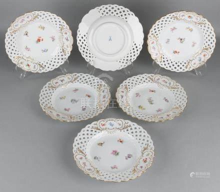 Six times antique German porcelain Meissen plates.