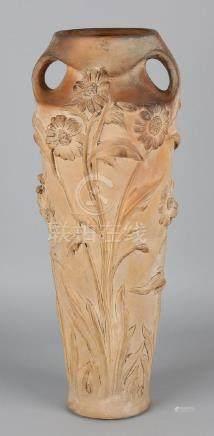Large antique terracotta art nouveau vase. Signed
