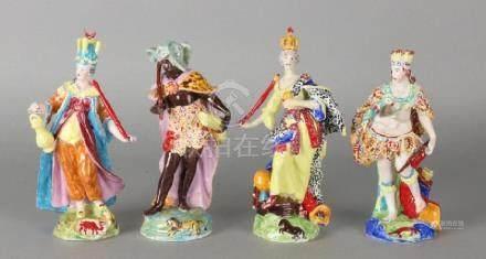 Four German hand-painted 'Sitzendorf' porcelain