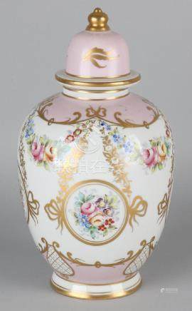 Antique hand-painted porcelain covered vase with floral
