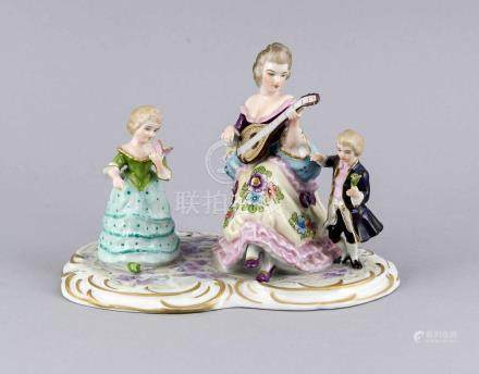 Old German Volkstedt porcelain figures group with gold