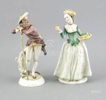 Two German Hutschenreuther porcelain figures. Woman