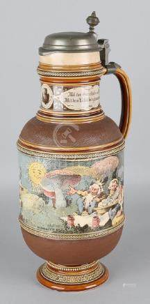 Antique German Metlach stoneware beer jar with text and