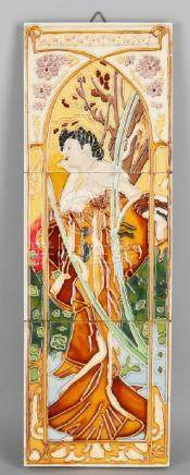 Three-piece Majolica Jugendstil tableau. 20th century.