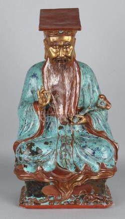 Large old polychrome Chinese porcelain figure. Wijsheer