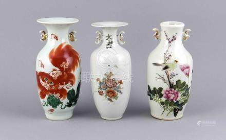 Three antique Chinese porcelain vases. Diverse with