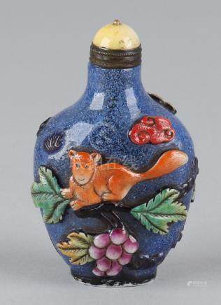 Old Chinese blue Peking glass snuffbottle with rodent