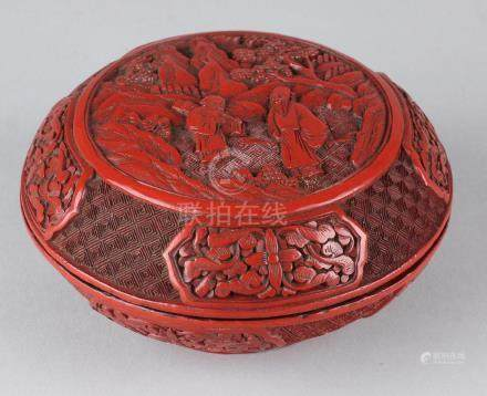 Large antique Chinese red lacquer box with figures in