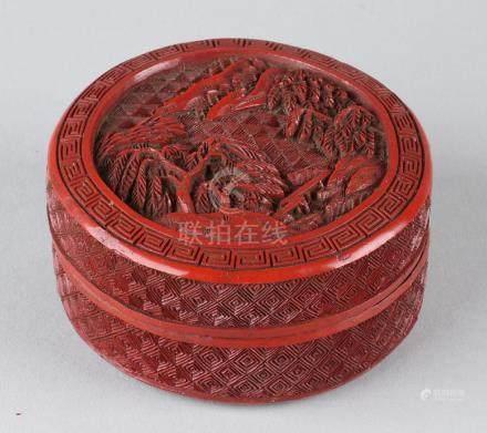 Small antique Chinese red lacquer covered box with