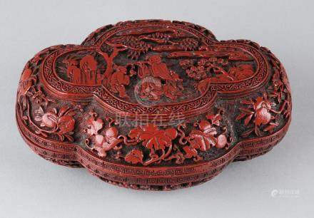 Large antique Chinese red lacquer box with fruit drinks