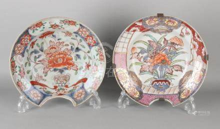 Two antique Japanese porcelain shaving basins with