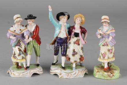 Three antique German porcelain Hoechst marked figures.