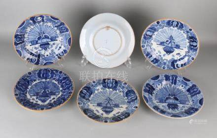 Six antique Delft Fayence peacock boards. Circa 1900.