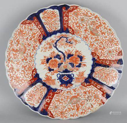 Very large 19th century Imari porcelain dish with