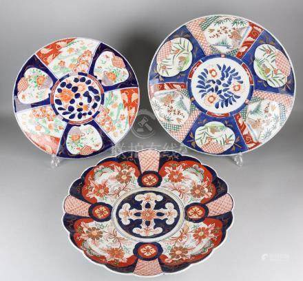 Three very large 19th century Japanese Imari porcelain