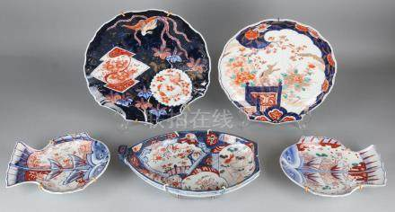 Five pieces of 19th century Imari porcelain dishes.