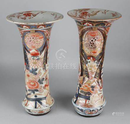 Two large 19th century Imari porcelain collar vases