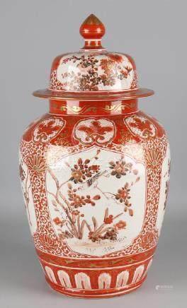 Large antique Japanese porcelain Kutani covered vase