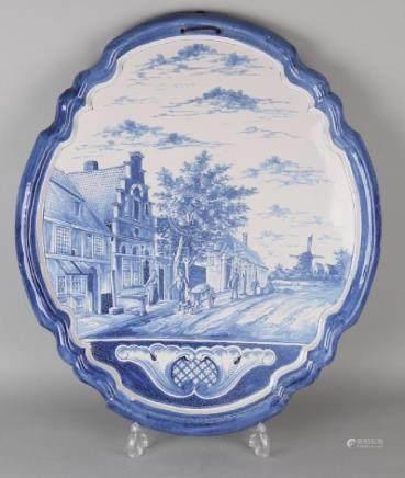 Very large Delft ceramic plaque with Dutch village
