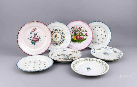 Eight 19th-century French hand-painted Fayence plates