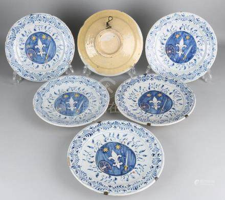 Six antique French Fayence plates, polychrome with